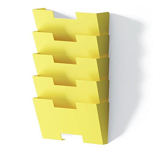 Yellow Wall Mount Steel File Holder Organizer Rack 5 Sectional Modular Design, Wider Than Letter Size 13 Inch , Multi-purpose , Organize, Display Magazines , Sort Files and Folders - Literature Rack Modular