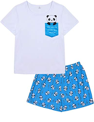 VENTELAN Pajama Women Cute Panda Sleep Tee Shirt Shorts Set Summer Sleepwear -
