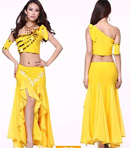 peiwen Les Danses/Shining Stade Ventre Danse/Performance Costume/Inde Danse Ensemble/des Hauts et des Jupes yellow