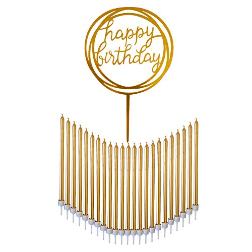 24 Count Tall Thin Metallic Gold Slow Burning Birthday Candles in Holders with Matching Elegant Classy Cake Topper for Special Custom Birthday Cake Decorations by Dream VZN]()