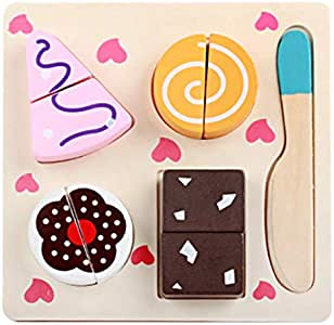 Wooden Cutting Fruit Food Pretend Play Wood Vegetables Fruits Cake Fish, Early Educational Development Birthday Gifts for Toddlers, Boys, Girls, Kids (Dessert)
