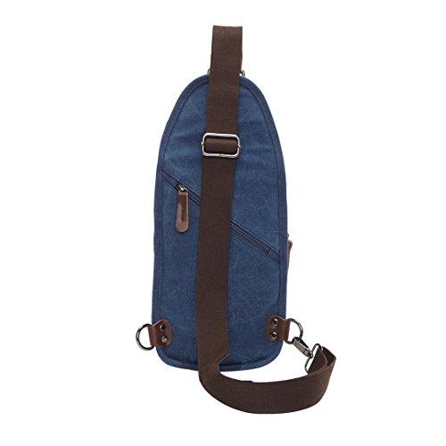 Wewod pecho Paquete/paquetes/hombre bolso de la lona de la moda retro de la estilo europeo y americano 18 x 28 x 7 cm (L*H*W) Azul marino