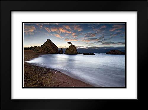 Tossa de Mar 40x28 Black Modern Frame and Double Matted Art Print by Ortega, Xavier