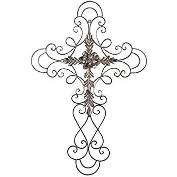 Adeco Black Scrolled Flower Cross Metal Wall Decor - Art Oblong Living Room Home Decoration - 27.5x18 Inches