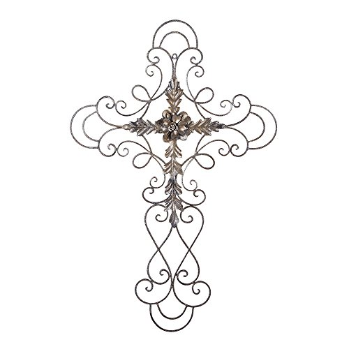 Oblong Metal - Adeco Black Scrolled Flower Cross Metal Wall Decor - Art Oblong Living Room Home Decoration - 27.5x18 Inches