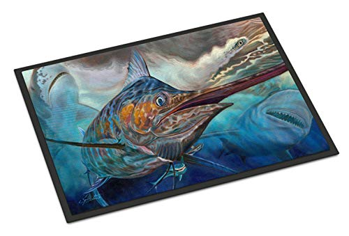 Caroline's Treasures Running The Guantlet Blue Marlin Indoor or Outdoor Mat 24x36 doormats, Multicolor ()
