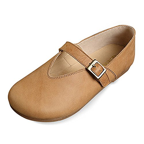 Walking Fashion on Shoes Toe Flats Loafer Leather Slip moccasins Yellow Women's Boat Casual Shoes Shoes Outdoor Sandals 1 Socofy Driving Loafers Comfort Flat CqwxZTAnFX