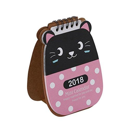 Ecurson 2018 Cute Cartoon Animal Desk Desktop Mini Calendar Flip Stand Pocket Table Office Planner (A)