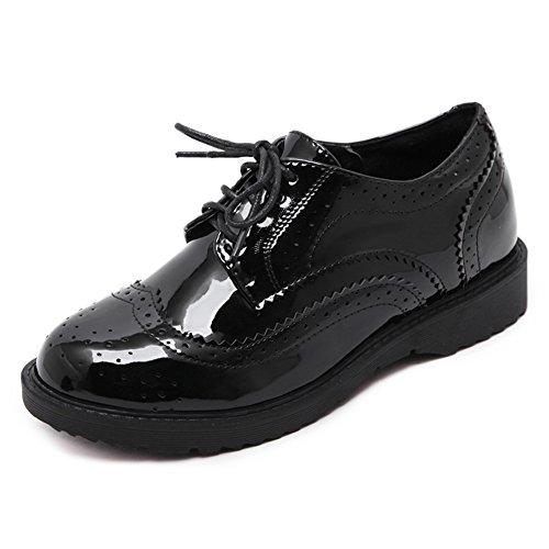 CYBLING Fashion Women Black Lace Up Platform Oxford Shoes for Walking Black