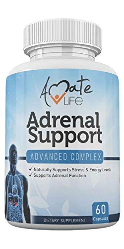 Adrenal Support Supplement Cortisol Manager - Stress Relief Adrenal Fatigue Complex- Adrenal Gland Dietary Supplements- Stress Management by Amate Life Made in USA 60 Capsules Non GMO