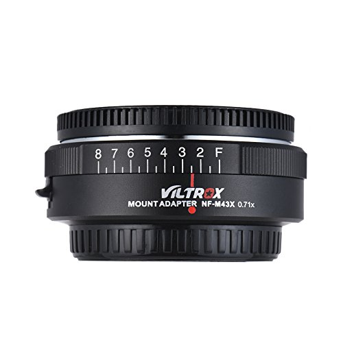 Adapter Speed Ring (Viltrox NF-M43X 0.71X Lens Mount Adapter Ring Focal Reducer Speed Booster 8 Aperture Manual Focus for Nikon G D Lens to use for Micro Four Thirds M4/3 Camera)