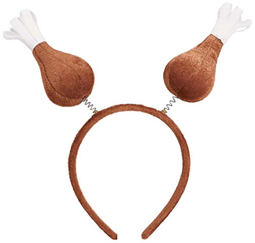 "Festive Fall Thanksgiving Party Turkey Drumstick Head bopper Wearables, Plush, 9"" x 10"""