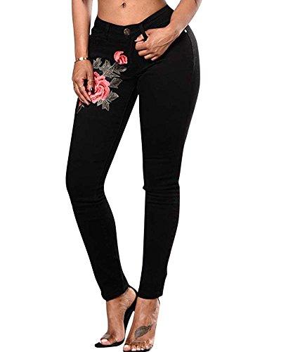 Stirata Donne Lunghi Matita Skinny Alta Denim Leggings Zhuikun Jeans Ricamato Vita Pantaloni Nero vqfxPW1
