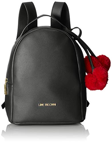Women's Pin Backpack Moschino Love Nero Borsa Grain Black Pu Handbag vwU4q54