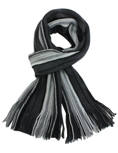 Scarf Long Striped (Dahlia Men's Soft, Warm and Long Winter Scarf, Striped Knit, Gray)