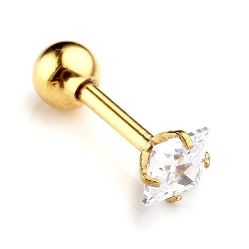 JSDDE Aiguille 1.2mm Piercings Cristal Zircon Carré Cartilage Tragus Piercing d'Oreille Earring Stud Acier Inoxy Doré