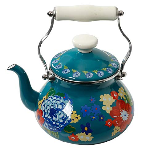 The Pioneer Woman Floral Dazzling Dahlias 2-Quart Tea Kettle, Steel with Enamel - Finish Floral