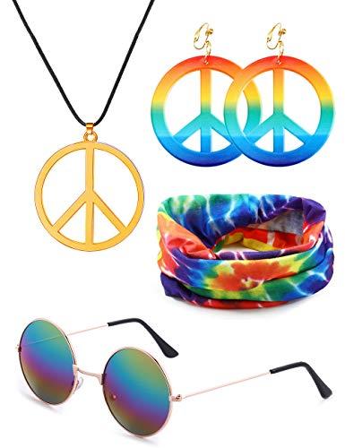 VALIJINA Hippie Costume Set Hippie Sunglasses Peace Sign Pendant Tie Dye Headband Bandana Peace Sign Earrings 60s or 70s Hippie Accessories