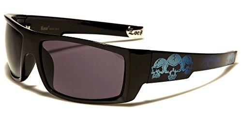 Locs Square Triple Skulls Wrap Around Sunglasses (Black & Blue Frame, - Wrap Around Black Sunglasses