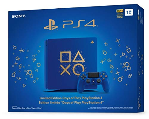 Playstation 4 Slim 1TB SSD Limited Edition Days of Play Blue Console with Controller Bundle Enhanced with Fast Solid State Drive