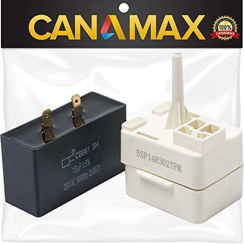 W10613606 Refrigerator Compressor Start Relay and Capacitor Premium Replacement Part by Canamax – Compatible with Whirlpool KitchenAid Kenmore Refrigerators- Replaces W10416065, PS8746522, 67003186