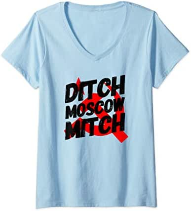 Womens Ditch Moscow Mitch McConnell Anti Trump 2020 Gift V-Neck T-Shirt