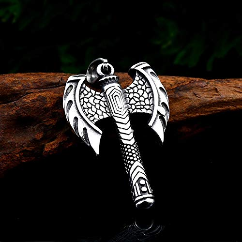 Metal Color: LHP062 Davitu Retro 316 Stainless Steel Viking Ax Pendant Necklace Rune Ax Bottle Opener fit Chain for Man Jewelry Gift Wholesale LHP062