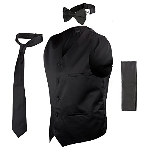 Vittorino Vittorino's Mens 4 Piece Formal Vest Set Combo With Tie Bow Tie and Handkerchief, Black, XXXXX-Large (5X) Combo Suit