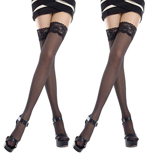 6866297f871 La Dearchuu 2 Pairs Womens Thigh High Stockings with Stay up Silicone Lace  Top, Sexy