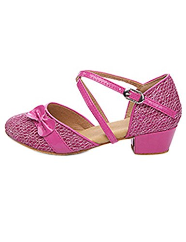 Eden Babe Girl's Strappy Tango Latin Dance Shoes(Little Kid 13.5M,Pink 30)