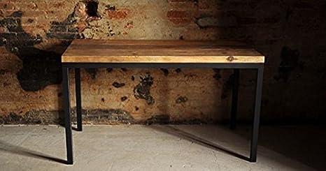 Tavolo In Ferro E Legno : Tavolo base ferro e piano con legno massello 90x75 design industrial