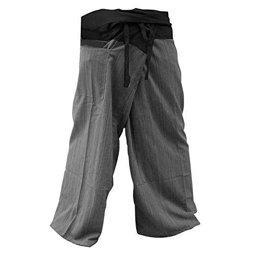 Memitr Thai Fisherman Pants Men's Yoga Trousers Gray Charcoal 2 Tone Pant (Black and Gray)