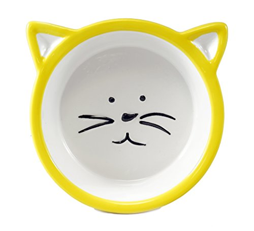 Chic Kitty Cat Face Food Bowl - Yellow (Cat Decorative Food)