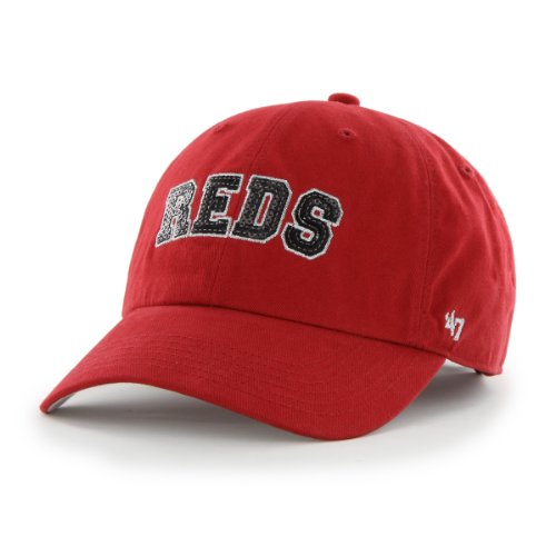 fan products of MLB Cincinnati Reds '47 Brand Natalie Sparkle Adjustable Cap, One Size, Red