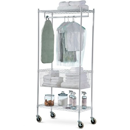 Rolling Laundry Storage Cart Steel Rack- White 78'' by Titan