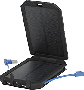 Olympia SB5500 Portable Solar Panel Battery Charger with USB and MicroUSB, 5500mAh