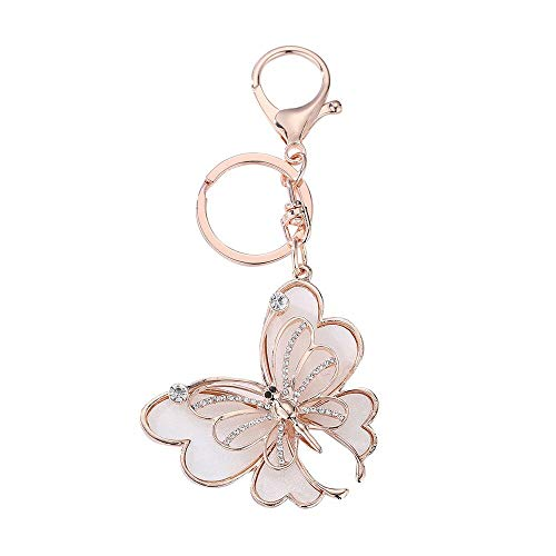 Crystal Keychain Pink Butterfly Favors - Molyveva Cute Butterfly Car Keychain, Metal Keychain Creative Gift Customization Male and Female Business Car Keychain Activity Gifts