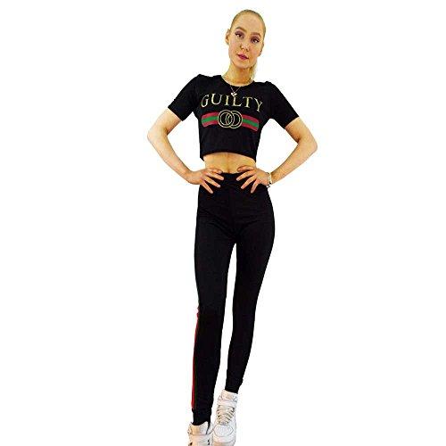 Thever Women Ladies Guilty Print S-SLV Contrast Side Stripe Co Ord Set Crop Top Jog Pant Tracksuit (Black, M/L-US(10-12))