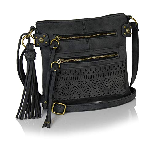 (Bohemian Laser Cut Design Faux Suede Perforated Crossbody Bag with Large Tassel (Vintage Black))