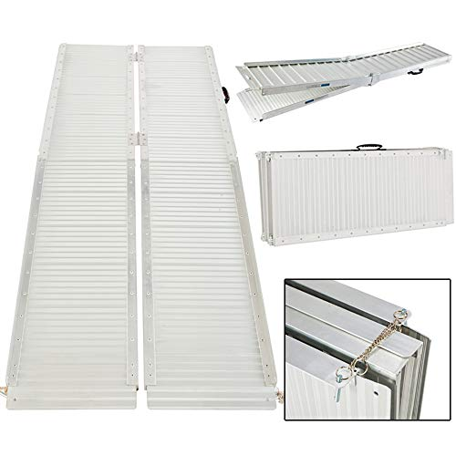 6' ft Suitcase Design Portable Aluminum Folding Wheelchair Threshold Ramp with Ribbed Surface and Carrying Handle