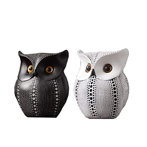 Nosterappou Home decoration tabletop decoration, study, living room, office decorations, black and white owl ornaments, resin creative crafts owl shape decoration, retro nostalgic temperament decorati]()