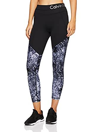 Calvin Klein Women's Printed Fitness Compression Pant with Logo Waistband, Multi-Coloured (Alloy Diamond Dust), XS