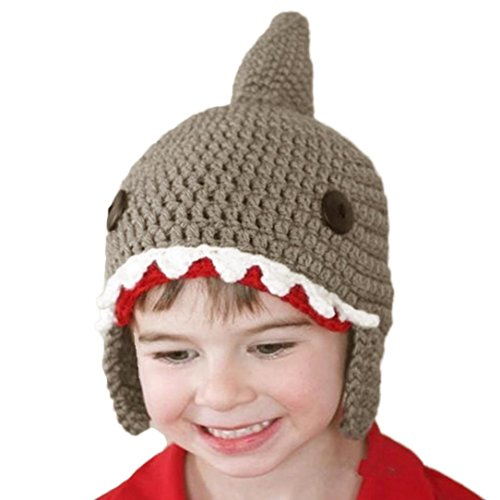 Gotd Baby Wool Knitted Shark Hats Baby Girls Hooded Caps Warmer (Gray)