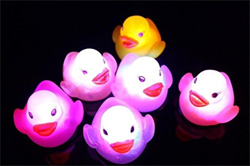 Leegor Baby Bath Toy,Toy Duck Auto Color Changing LED Lamp Light Vinyl Toys Teether (pink)