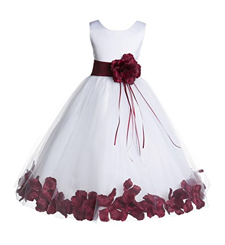 ekidsbridal Floral Rose Petals White Flower Girl Dress Pageant Dresses Junior Flower Girl Dress Birthday Girl 007 8 (Rose Dress Floral)