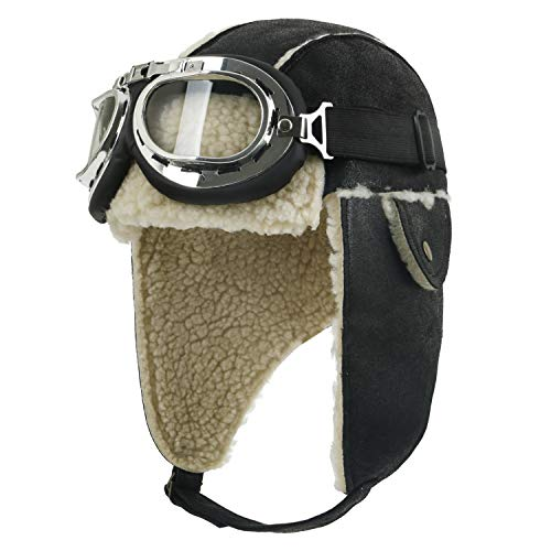 ililily Aviator Hat Winter Snowboard Fur Ear Flaps Trooper Trapper Pilot Goggles, Black/Beige]()