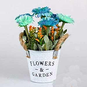 Artificial Plants in Pot Artificial Flowers Gerbera with Iron Pail Pot Faux Simulation Aster Daisy Potted Plants Fake Artificial Bonsai Chrysanthemum Home Decoration Ornaments – Blue