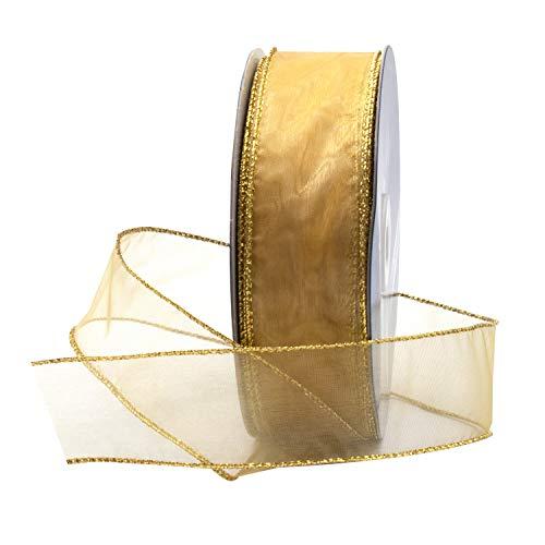 Gold Organza Wired Sheer Ribbon 1.5