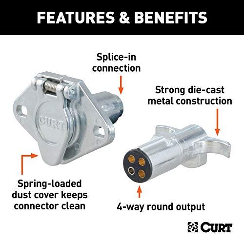 CURT 58060 Trailer-Side 4-Way Round Trailer Wiring Harness Plug 4-Pin Trailer Wiring