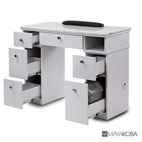MAYAKOBA Sonoma Manicure Table, Nail Station for Beauty Salon Furniture & Equipment, Marble Top & 1UV Hole, Modern White/Silver